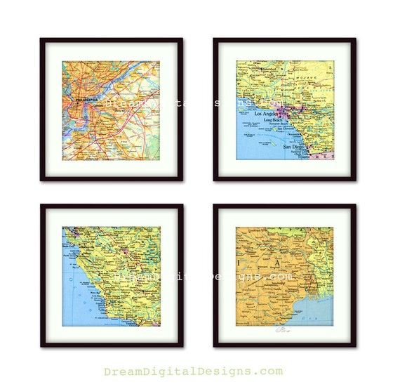 Personalized Map Wall Decor Great For By Artprintsvintage