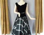 SALE Vintage 50s ELLEN JOAN Black  Taffeta and Velvet Full Skirt Party Dress