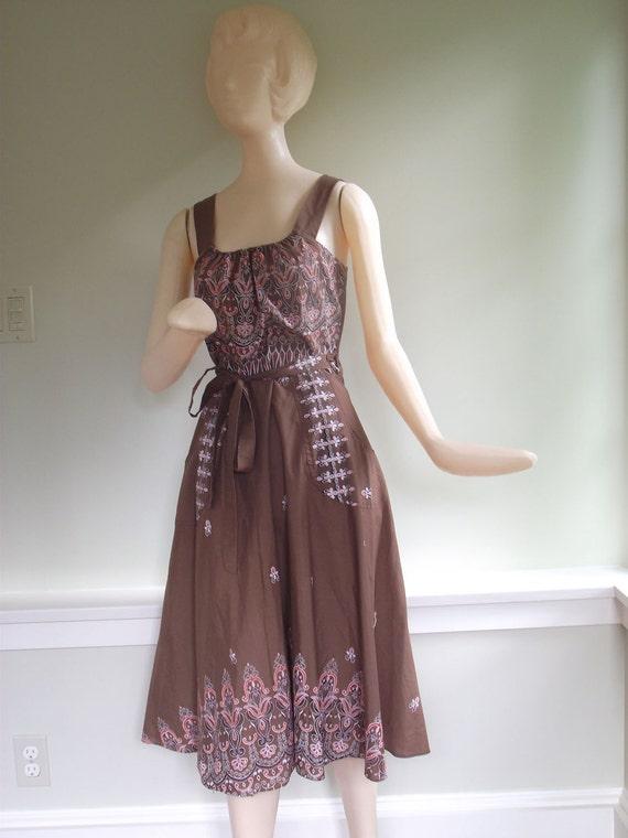Vintage 1970s Batik Ethnic print Brown Cotton Wrap Sundress Size Medium