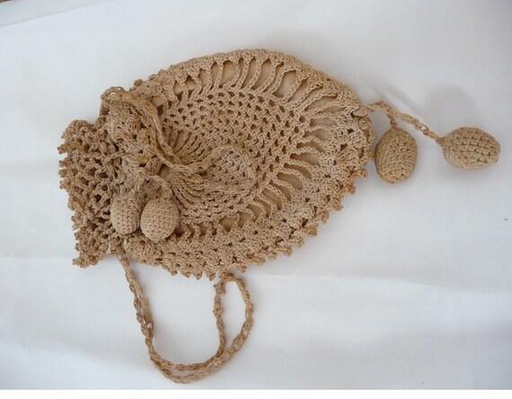 Antique Edwardian Victorian Beige Natural Crochet Reticule Purse