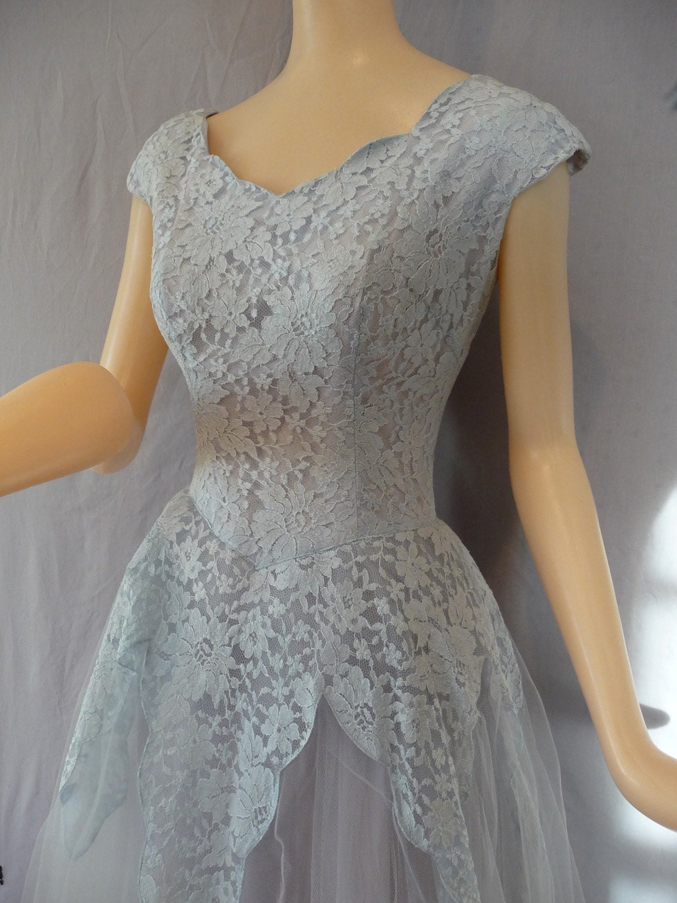 Vintage 1950s Light Blue Cindarella Party Prom Dress Lace And