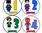 Superhero Monthly Onesie Stickers Batman Superman Spiderman Green Lantern ..... printed... peel, stick, click with FREE just born sticker