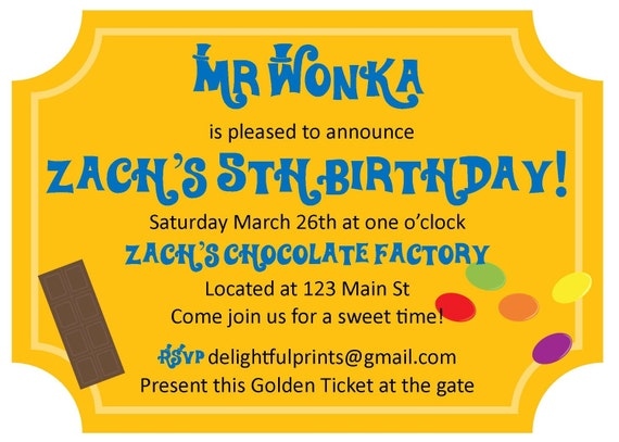 Items similar to Willy Wonka Golden Ticket inspired ...