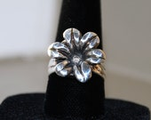 Fine Silver Flower Ring with White CZ