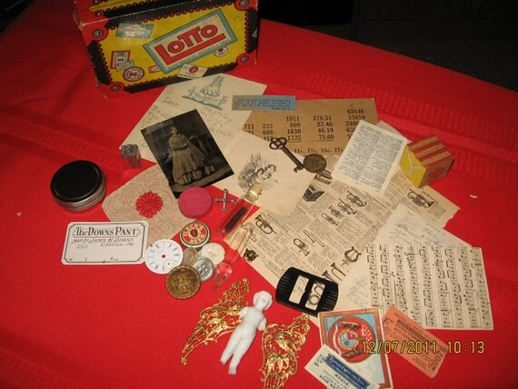 35 piece Assorted, High end, Collage Supply Items in Vintage Game Box