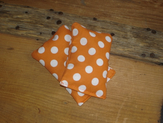 Reusable Hand warmers, Stress reliever, Orange w/ Polka dots