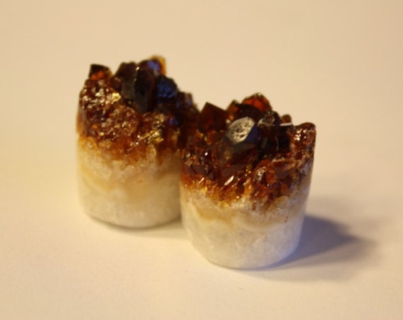 RESERVED - 17mm Rough Face Citrine Druzy Plugs