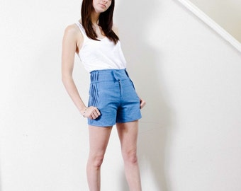 SAMPLE SALE Pleated Chambray Shorts