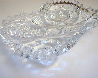 Antique NORTEC Sawtooth Edge Dish, Elegant Vanity Dish, EAPG, McKee PresCut, Signed, Early 1900's