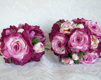 Wedding bouquets Dianna beauty rose fuchsia creme peonies  6 piece silk bridal bouquet and boutonniere package
