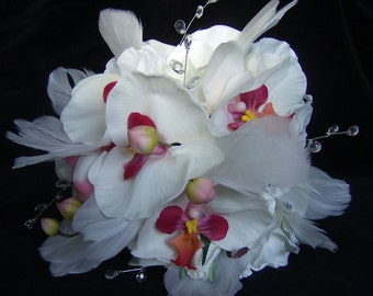 Bridal bouquet white orchids feathers  roses wedding bouquet and boutonniere set