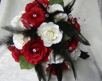 Wedding bouquet set red and white roses black feathers gems bridal bouquets and boutonnieres