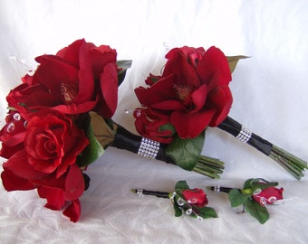 Bridal bouquet 4 piece set red roses red magnolias wedding bouquet