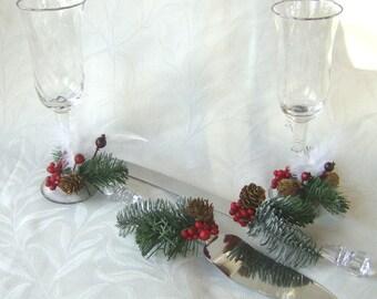 Holiday wedding Cake Service Set server set Bride and Groom Toasting Flutes 4 piece winter wedding set