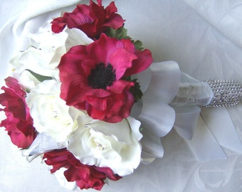 White roses lilies with beauty/red anemones wedding bouquet 4 piece set
