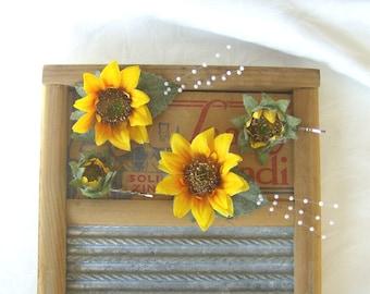 Sunflower hair fascinator sunflower hair clips bridal hair pin country wedding fascinator