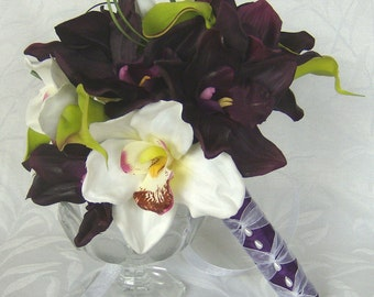 Orchid Bridal Bouquet 4 piece Destination wedding plum and white orchid silk flower bouquet