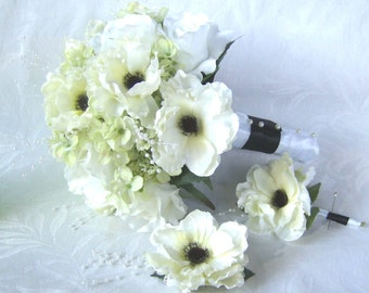 Anemone wedding bouquet boutonniere hair clip elegant black and white anemone green hydrangea 3 piece bridal bouquet