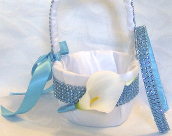 Calla lily flower girl basket head band set  turquoise wedding