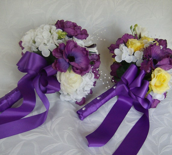Sample sale  Ready to ship Bridal bouquet purple and white bouquets roses anemone ranunculus hydrangea 4 piece silk bouquet package