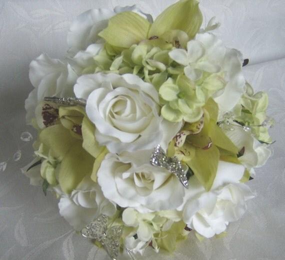 Sample sale Silk bridal bouquets crème white roses green orchids 4 piece wedding bouquet and boutonniere set
