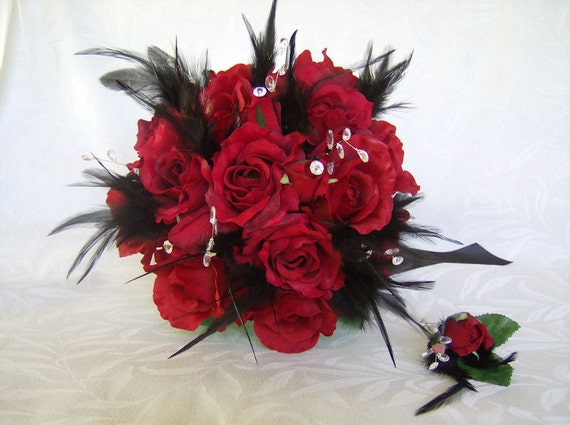 Wedding Bouquets With Feathers And Crystals : Wedding bouquet feather red roses black feathers