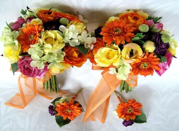 4 piece  Silk bridal bouquet bridesmaid bouquet boutonnieres ranunculus roses gerberas hydrangea