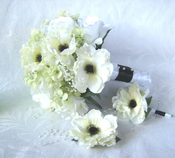 Anemone wedding bouquet boutonniere hair clip elegant black and white anemone green hydrangea 3 piece bridal bouquet