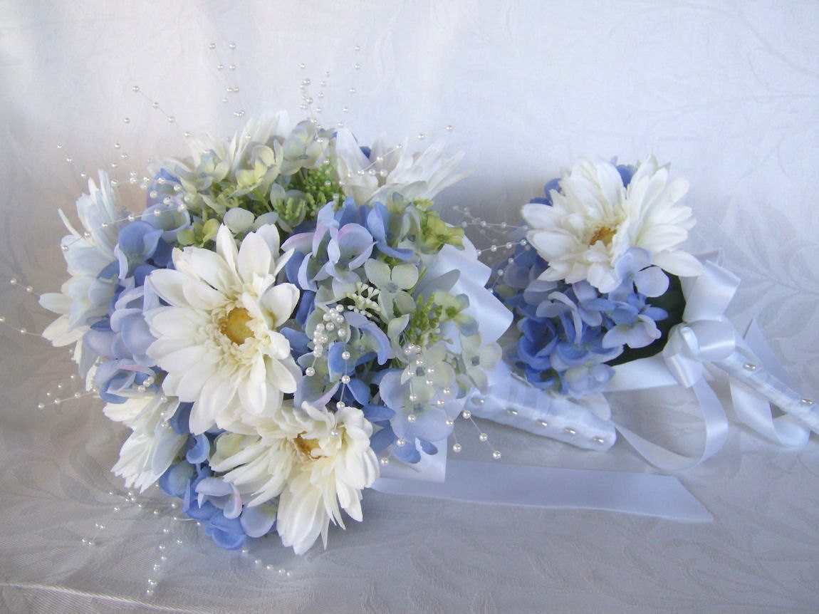 throw bouquet blue hydrangea and gerbera daisies reserved for. Black Bedroom Furniture Sets. Home Design Ideas