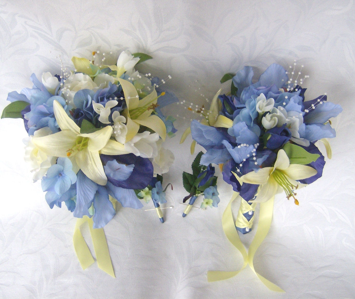 reserved wedding bouquet blue iris and hydrangea bouquets. Black Bedroom Furniture Sets. Home Design Ideas