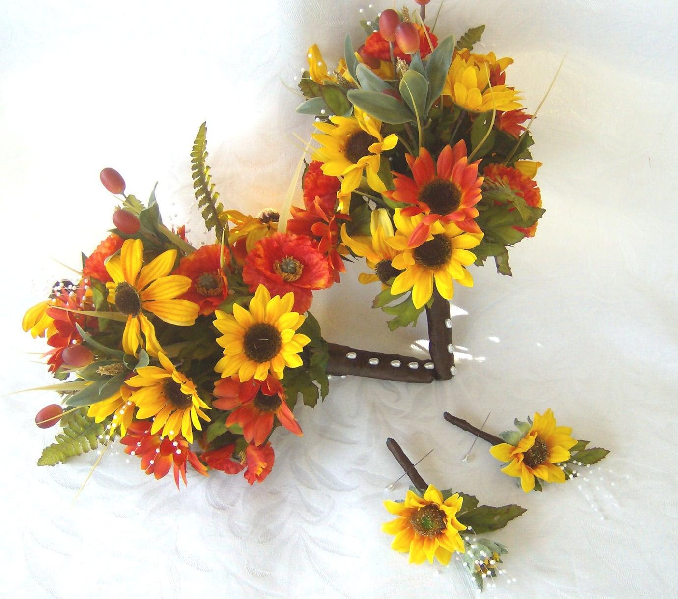 Sunflower Wedding Bouquet Ideas: Sunflower Bridal Bouquet Sunflowers Black Eyed Susan Poppies