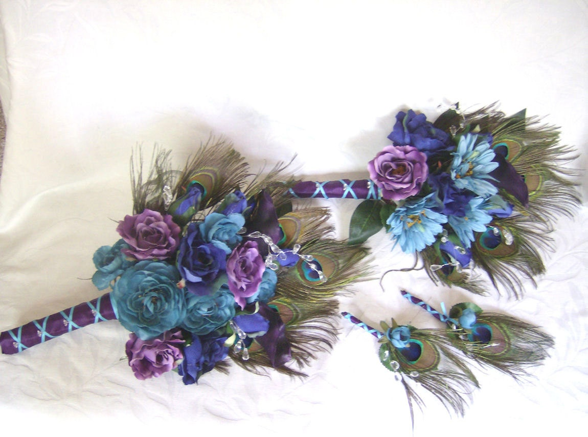 Peacock Feather Wedding Bouquet Turquoise Purple Eggplant Silk