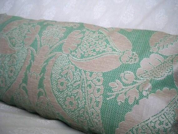 Metallic Silver and Green Floral Pillowcase OOAK