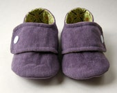 Baby Booties in Dusty Purple Corduroy and Yellow Print Cotton - Size 3 - Ready to Ship