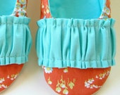 Women's Slippers - Ruffled Mary Jane House Shoes in Orange and Turquoise