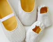 Mom and Baby Slipper Set - Molipop Slippers in White, Grey, and Yellow
