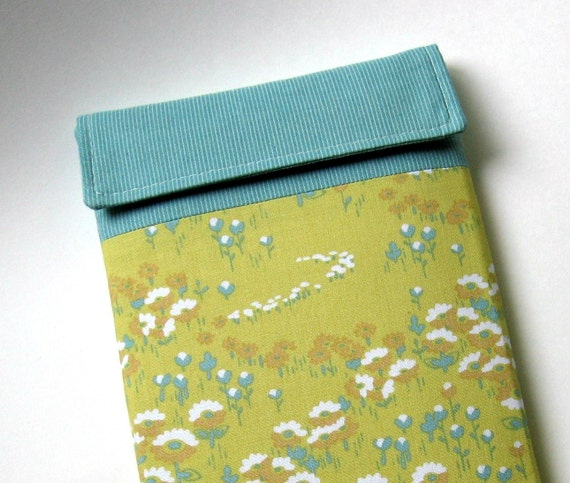 Kindle Case, Kindle Cover, Kindle Sleeve, or Custom Ereader Case - Vintage Yellow and Aqua with Foam Padding