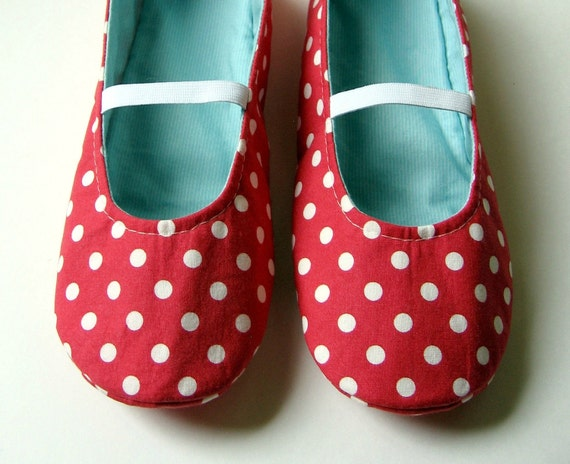 Womens Slippers - Reversible Mary Jane House Shoes in  Red and Aqua