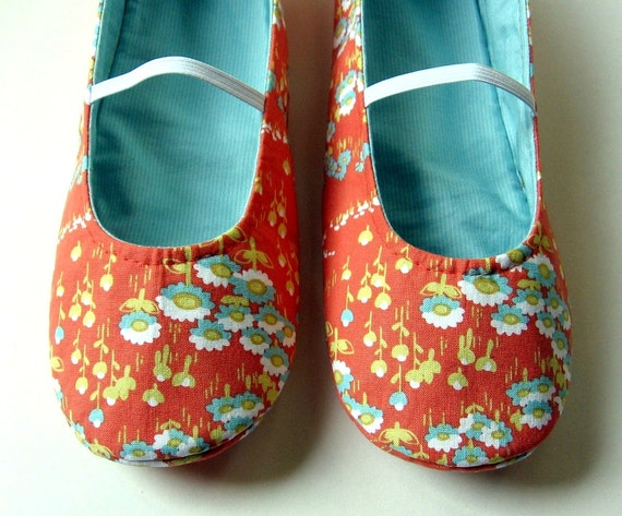 SIZE 8 Women's Slippers - Reversible Mary Jane House Shoes in Orange and Aqua - Ready to Ship
