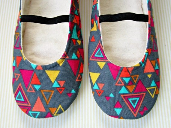 Womens Slippers - Geometry Print Mary Jane House Slippers in Charcoal, Magenta, Turquoise, Orange, and Yellow