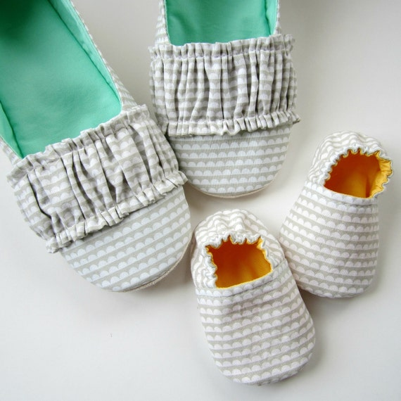 Mom and Baby Slipper Set - Molipop Slippers in White, Grey, Yellow, and Aqua