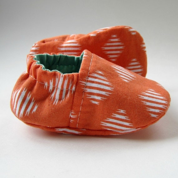 Reversible Baby Booties in Orange and Aqua - Sizes 1-4