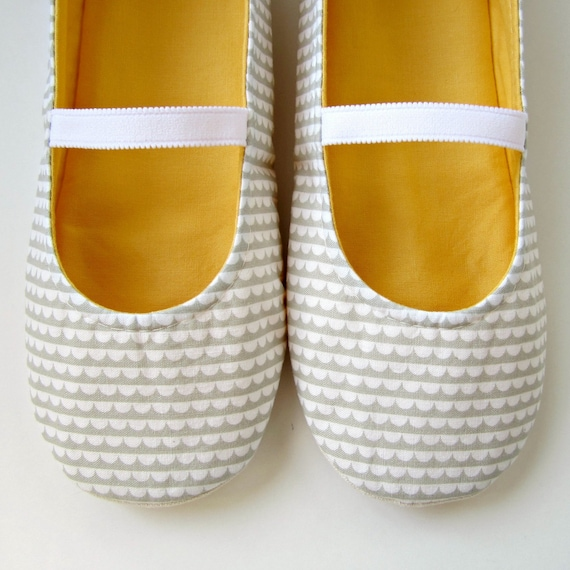 Womens Slippers - Mary Jane Slippers in White, Grey and Yellow