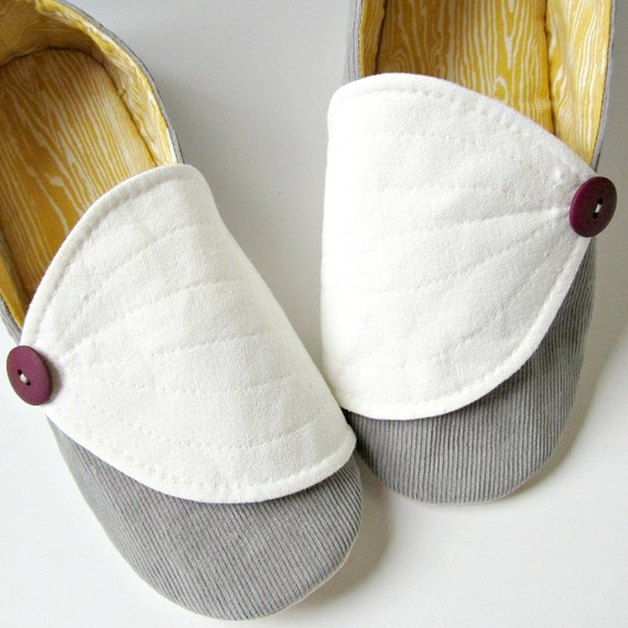 Women's Slippers - Grey Corduroy and Vintage Yellow Hosta Slippers