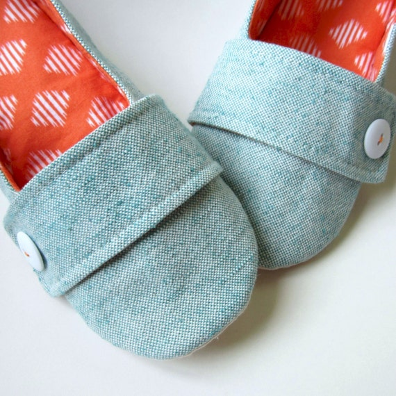 Women's Slippers - Aqua and Orange House Slippers with Decorative Straps and Buttons