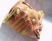 cloth diaper cover - crochet wool soaker - one size- snapping - autumn leaves