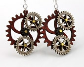 Kinetic Triple Moving Gear Earrings
