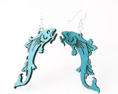 Koi Fish - Laser Cut Wood Earrings from Reforested Trees