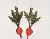 Radishes that hang on your Ear - Perfect for any green thumb - Reforested Wood