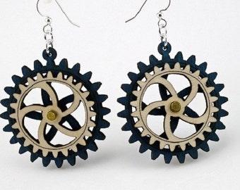 Kinetic Gear Earrings - laser Cut from Reforested Wood
